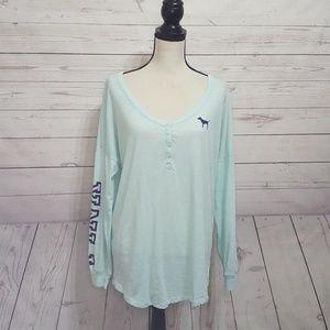 PINK Victoria's Secret Mint Long Sleeve T-Shirt